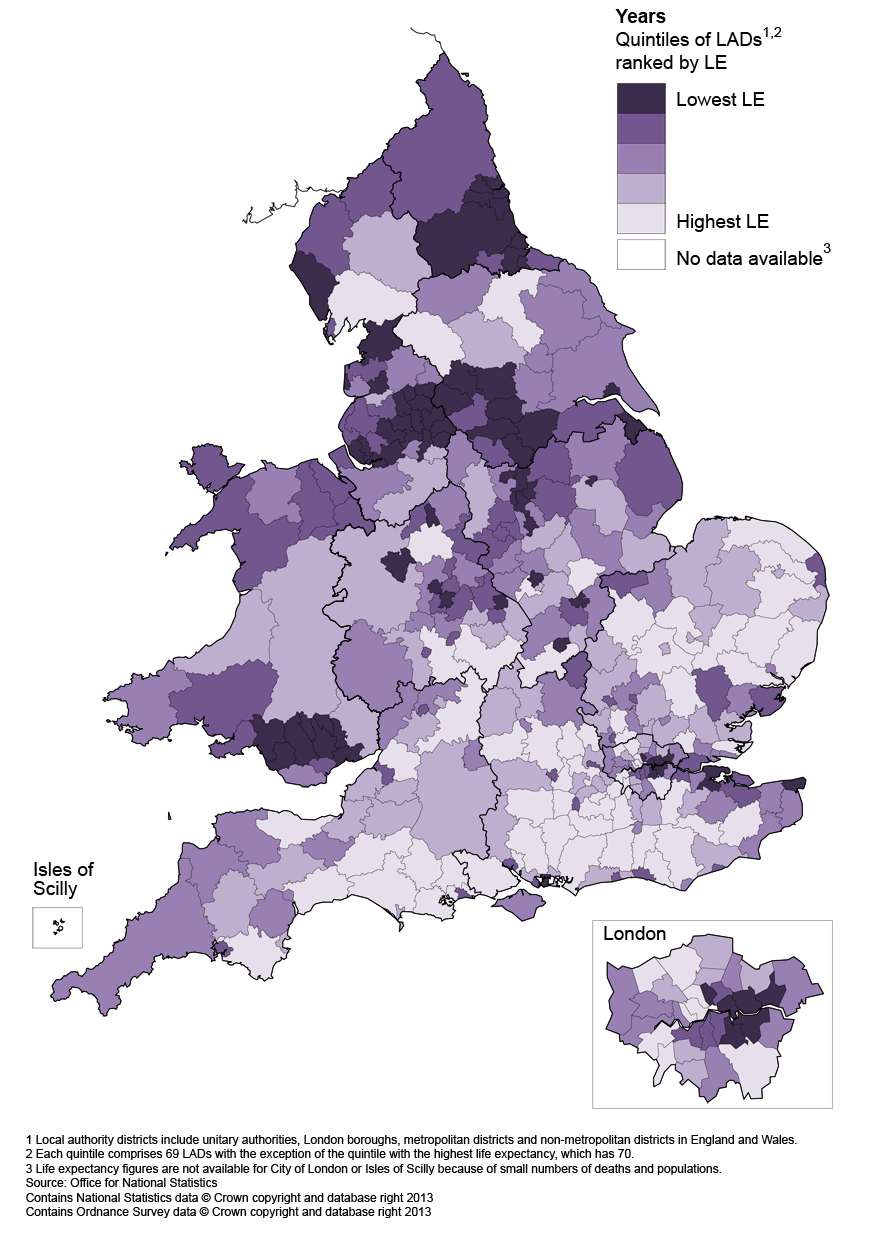 Map 3: Life expectancy (LE) for males at age 65 by local authority district in England and Wales, 2010–12