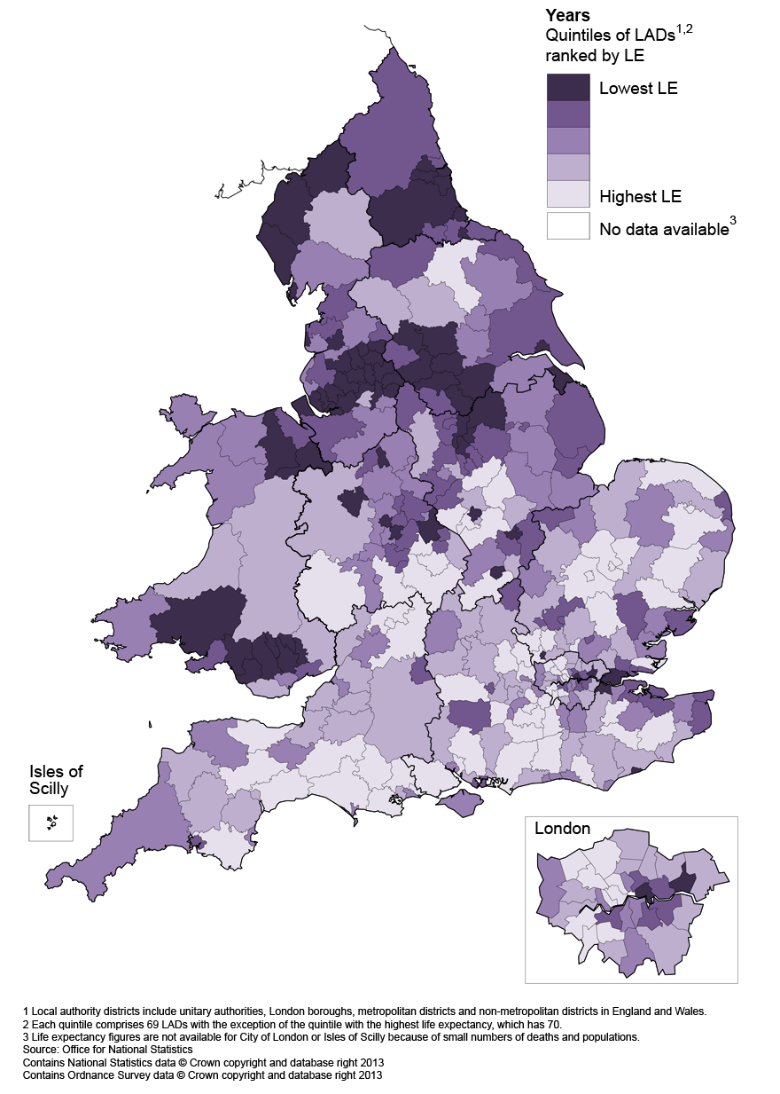 Map 4: Life expectancy (LE) for females at age 65 by local authority districts in England and Wales, 2010–12