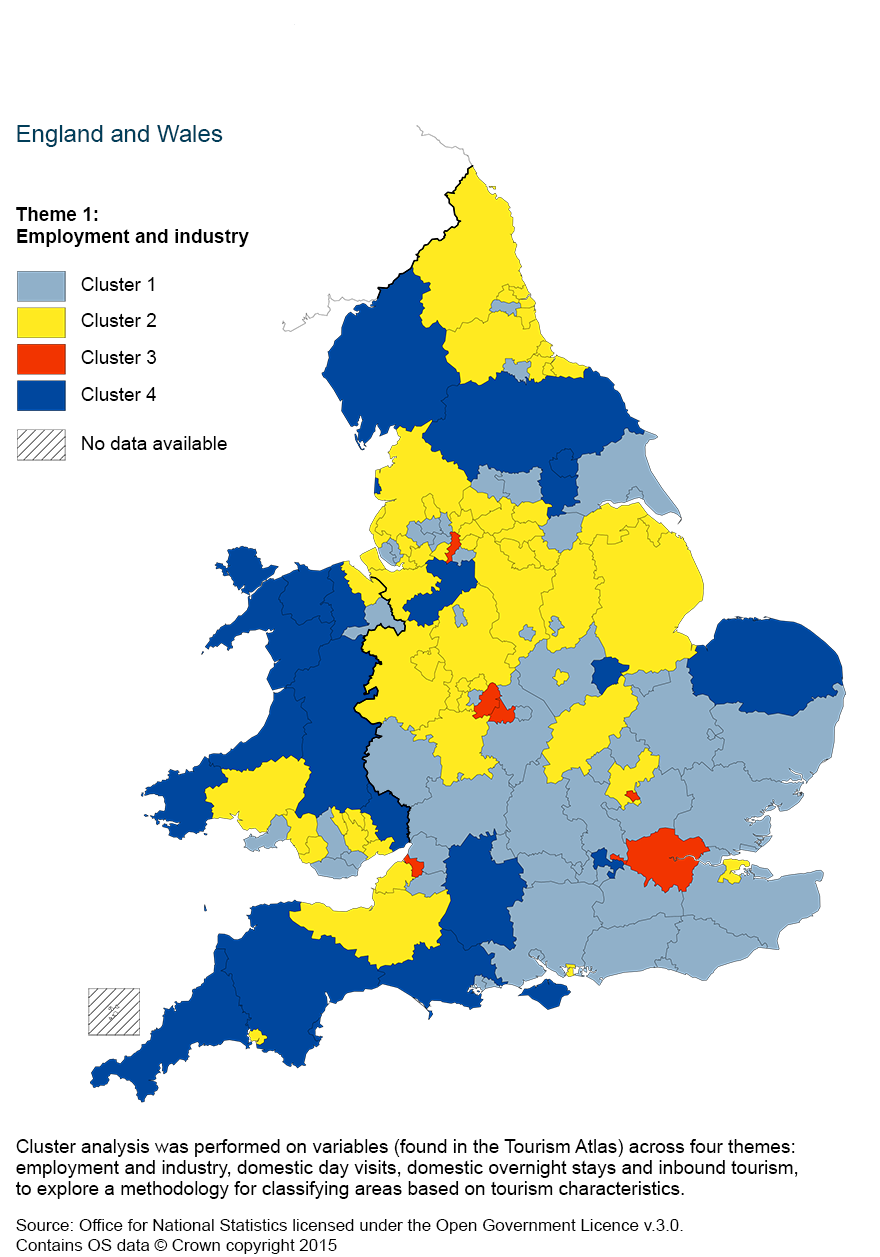 Map 2: Cluster analysis of employment and industry, using a four cluster classification by county and unitary authority, 2011 to 2013