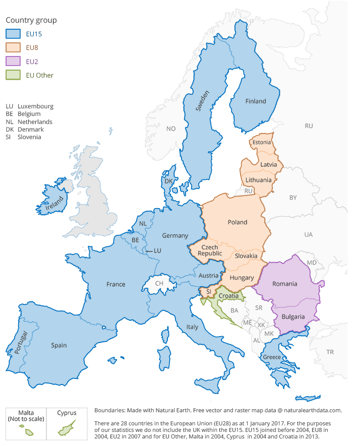 European map showing EU country groupings including: EU15, EU8, EU2 and EU Other.